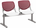 2300 KOOL Series Beam Seating with 2 Poly Burgundy Perforated Back Seats and White Seats [2300BEAM2-BP07-SP08-IFK]