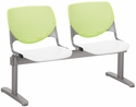 2300 KOOL Series Beam Seating with 2 Poly Lime Green Perforated Back Seats and White Seats [2300BEAM2-BP14-SP08-IFK]