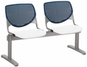2300 KOOL Series Beam Seating with 2 Poly Navy Perforated Back Seats and White Seats [2300BEAM2-BP03-SP08-IFK]