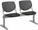 2300 KOOL Series Beam Seating with 2 Poly Perforated Back and Seats with Silver Frame - Black [2300BEAM2-P10-IFK]