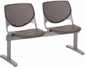 2300 KOOL Series Beam Seating with 2 Poly Perforated Back and Seats with Silver Frame - Brownstone [2300BEAM2-P18-IFK]