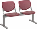 2300 KOOL Series Beam Seating with 2 Poly Perforated Back and Seats with Silver Frame - Burgundy [2300BEAM2-P07-IFK]