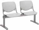 2300 KOOL Series Beam Seating with 2 Poly Perforated Back and Seats with Silver Frame - Light Grey [2300BEAM2-P13-IFK]