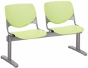 2300 KOOL Series Beam Seating with 2 Poly Perforated Back and Seats with Silver Frame - Lime Green [2300BEAM2-P14-IFK]