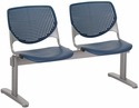 2300 KOOL Series Beam Seating with 2 Poly Perforated Back and Seats with Silver Frame - Navy [2300BEAM2-P03-IFK]