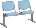 2300 KOOL Series Beam Seating with 2 Poly Perforated Back and Seats with Silver Frame - Sky Blue [2300BEAM2-P35-IFK]