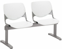 2300 KOOL Series Beam Seating with 2 Poly Perforated Back and Seats with Silver Frame - White [2300BEAM2-P08-IFK]