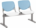 2300 KOOL Series Beam Seating with 2 Poly Sky Blue Perforated Back Seats and White Seats [2300BEAM2-BP35-SP08-IFK]