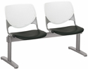 2300 KOOL Series Beam Seating with 2 Poly White Perforated Back and Black Seats [2300BEAM2-BP08-SP10-IFK]