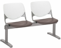 2300 KOOL Series Beam Seating with 2 Poly White Perforated Back and Brownstone Seats [2300BEAM2-BP08-SP18-IFK]