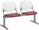 2300 KOOL Series Beam Seating with 2 Poly White Perforated Back and Burgundy Seats [2300BEAM2-BP08-SP07-IFK]