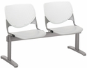 2300 KOOL Series Beam Seating with 2 Poly White Perforated Back and Light Grey Seats [2300BEAM2-BP08-SP13-IFK]