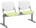 2300 KOOL Series Beam Seating with 2 Poly White Perforated Back and Lime Green Seats [2300BEAM2-BP08-SP14-IFK]