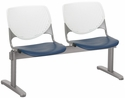 2300 KOOL Series Beam Seating with 2 Poly White Perforated Back and Navy Seats [2300BEAM2-BP08-SP03-IFK]