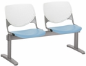 2300 KOOL Series Beam Seating with 2 Poly White Perforated Back and Sky Blue Seats [2300BEAM2-BP08-SP35-IFK]