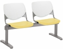 2300 KOOL Series Beam Seating with 2 Poly White Perforated Back and Yellow Seats [2300BEAM2-BP08-SP12-IFK]