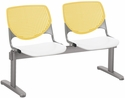 2300 KOOL Series Beam Seating with 2 Poly Yellow Perforated Back Seats and White Seats [2300BEAM2-BP12-SP08-IFK]