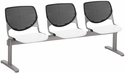 2300 KOOL Series Beam Seating with 3 Poly Black Perforated Back Seats and White Seats [2300BEAM3-BP10-SP08-IFK]