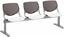 2300 KOOL Series Beam Seating with 3 Poly Brownstone Perforated Back Seats and White Seats [2300BEAM3-BP18-SP08-IFK]