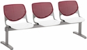2300 KOOL Series Beam Seating with 3 Poly Burgundy Perforated Back Seats and White Seats [2300BEAM3-BP07-SP08-IFK]