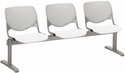 2300 KOOL Series Beam Seating with 3 Poly Light Grey Perforated Back Seats and White Seats [2300BEAM3-BP13-SP08-IFK]