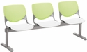 2300 KOOL Series Beam Seating with 3 Poly Lime Green Perforated Back Seats and White Seats [2300BEAM3-BP14-SP08-IFK]