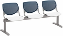 2300 KOOL Series Beam Seating with 3 Poly Navy Perforated Back Seats and White Seats [2300BEAM3-BP03-SP08-IFK]
