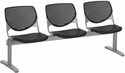2300 KOOL Series Beam Seating with 3 Poly Perforated Back and Seats with Silver Frame - Black [2300BEAM3-P10-IFK]