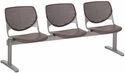 2300 KOOL Series Beam Seating with 3 Poly Perforated Back and Seats with Silver Frame - Brownstone [2300BEAM3-P18-IFK]