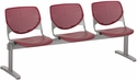 2300 KOOL Series Beam Seating with 3 Poly Perforated Back and Seats with Silver Frame - Burgundy [2300BEAM3-P07-IFK]