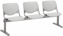 2300 KOOL Series Beam Seating with 3 Poly Perforated Back and Seats with Silver Frame - Light Grey [2300BEAM3-P13-IFK]