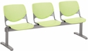 2300 KOOL Series Beam Seating with 3 Poly Perforated Back and Seats with Silver Frame - Lime Green [2300BEAM3-P14-IFK]