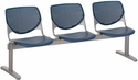 2300 KOOL Series Beam Seating with 3 Poly Perforated Back and Seats with Silver Frame - Navy [2300BEAM3-P03-IFK]