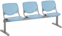 2300 KOOL Series Beam Seating with 3 Poly Perforated Back and Seats with Silver Frame - Sky Blue [2300BEAM3-P35-IFK]