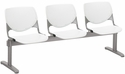 2300 KOOL Series Beam Seating with 3 Poly Perforated Back and Seats with Silver Frame - White [2300BEAM3-P08-IFK]