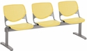 2300 KOOL Series Beam Seating with 3 Poly Perforated Back and Seats with Silver Frame - Yellow [2300BEAM3-P12-IFK]
