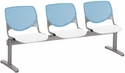 2300 KOOL Series Beam Seating with 3 Poly Sky Blue Perforated Back Seats and White Seats [2300BEAM3-BP35-SP08-IFK]