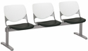 2300 KOOL Series Beam Seating with 3 Poly White Perforated Back and Black Seats [2300BEAM3-BP08-SP10-IFK]