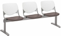 2300 KOOL Series Beam Seating with 3 Poly White Perforated Back and Brownstone Seats [2300BEAM3-BP08-SP18-IFK]