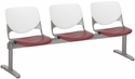 2300 KOOL Series Beam Seating with 3 Poly White Perforated Back and Burgundy Seats [2300BEAM3-BP08-SP07-IFK]