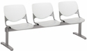 2300 KOOL Series Beam Seating with 3 Poly White Perforated Back and Light Grey Seats [2300BEAM3-BP08-SP13-IFK]
