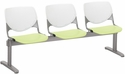 2300 KOOL Series Beam Seating with 3 Poly White Perforated Back and Lime Green Seats [2300BEAM3-BP08-SP14-IFK]