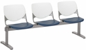 2300 KOOL Series Beam Seating with 3 Poly White Perforated Back and Navy Seats [2300BEAM3-BP08-SP03-IFK]