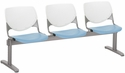 2300 KOOL Series Beam Seating with 3 Poly White Perforated Back and Sky Blue Seats [2300BEAM3-BP08-SP35-IFK]
