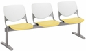 2300 KOOL Series Beam Seating with 3 Poly White Perforated Back and Yellow Seats [2300BEAM3-BP08-SP12-IFK]