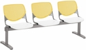 2300 KOOL Series Beam Seating with 3 Poly Yellow Perforated Back Seats and White Seats [2300BEAM3-BP12-SP08-IFK]