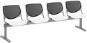 2300 KOOL Series Beam Seating with 4 Poly Black Perforated Back Seats and White Seats [2300BEAM4-BP10-SP08-IFK]