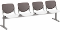 2300 KOOL Series Beam Seating with 4 Poly Brownstone Perforated Back Seats and White Seats [2300BEAM4-BP18-SP08-IFK]