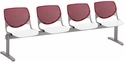 2300 KOOL Series Beam Seating with 4 Poly Burgundy Perforated Back Seats and White Seats [2300BEAM4-BP07-SP08-IFK]