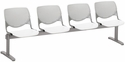 2300 KOOL Series Beam Seating with 4 Poly Light Grey Perforated Back Seats and White Seats [2300BEAM4-BP13-SP08-IFK]